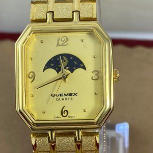 Vintage Moon Phase 18 Karat GP Quemex Dress Watch
